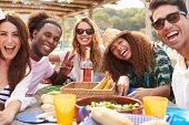 picture of lunch  - Group Of Young Friends Enjoying Lunch Outdoors - JPG