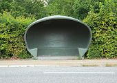 stock photo of bus-shelter  - Special danish weather shelter at bus stop - JPG