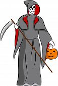 stock photo of scythe  - Illustration of grim reaper with scythe and pumpkin - JPG