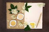 image of elderflower  - Elderflower champagne ingredients with old pen over natural hemp notebook and lokta paper background - JPG
