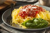 image of pasta  - Homemade Cooked Spaghetti Squash Pasta with Marinara Sauce