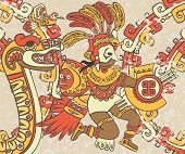 picture of serpent  - Bright background in the Aztec style - JPG
