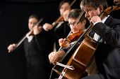 pic of orchestra  - String orchestra performing on stage with cello on foreground - JPG