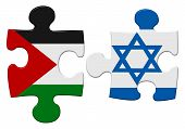 stock photo of israeli flag  - Israel and Palestine flag puzzle with the pieces separated on an isolated white background with a clipping path - JPG