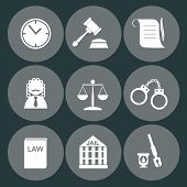 stock photo of justice law  - law judge icon set - JPG