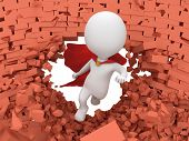 picture of cloak  - Man brave superhero with red cloak flying forward through broken brick wall with hole - JPG