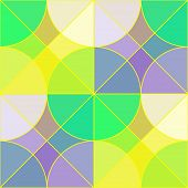 image of semi-circle  - Abstract geometric seamless pattern with multicolored semi transparent tiles in the shape of circles and squares looks like the stained glass vector EPS8 - JPG