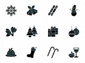 picture of snowmen  - Collection of christmas icons depicting snowflakes snowman christmas food drink and decorations in a hexagonal format - JPG