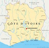 stock photo of ivory  - Ivory Coast Political Map  - JPG