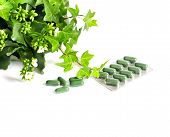 foto of antidepressant  - herbal medicine pills with green plant on white background - JPG