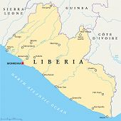picture of political map  - Liberia Political Map with capital Monrovia - JPG
