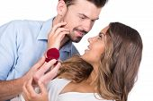 image of propose  - Man making propose with wedding ring in gift box - JPG