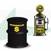 pic of fuel economy  - Abstract colorful background with fuel pump and a black oil barrel with the word petrodollar written with yellow letters - JPG