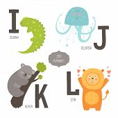 stock photo of letter k  - Cute vector zoo alphabet with cartoon animals isolated on white background - JPG