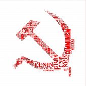 pic of hammer sickle  - Red hammer and sickle word cloud isolated on white - JPG