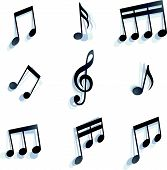 picture of monochromatic  - black monochromatic musical notes and symbols isolated on white background - JPG