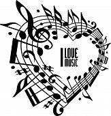 foto of musical symbol  - I love music concept - JPG
