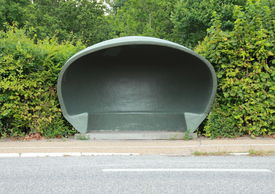 picture of bus-shelter  - Special danish weather shelter at bus stop - JPG