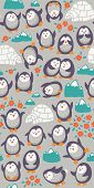 stock photo of yurt  - Seamless cartoon pattern with funny penguins - JPG