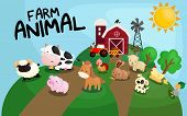 stock photo of farm land  - many farm animal on top of a hill - JPG
