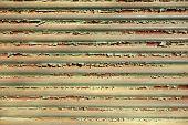 stock photo of roller shutter door  - Green Rusty metal store roller shutter in Greece - JPG