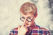 image of nerd glasses  - Young teen boy in nerd glasses - JPG