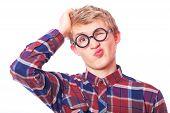 foto of nerd glasses  - Young teen boy in nerd glasses - JPG
