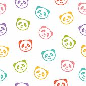 image of panda bear  - Seamless colorful pattern with panda bear - JPG