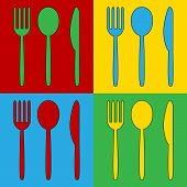 pic of knife  - Pop art fork spoon and knife symbol icons - JPG