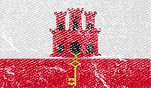 picture of gibraltar  - Flag of Gibraltar with old texture - JPG
