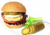 image of veggie burger  - Vegan sea burger isolated on white background - JPG