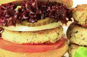 pic of patty-cake  - Vegan sea burger and patties closeup background - JPG