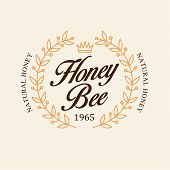 pic of honey bee hive  - Vector set of honey and bees labels - JPG