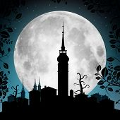picture of moon silhouette  - Full Moon Vector Illustration with Town Silhouette  - JPG
