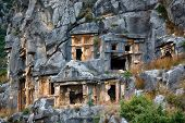 stock photo of burial  - Ancient burial place of Myra in Turkey - JPG