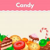stock photo of candy cane border  - Background with colorful sticker candy - JPG