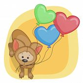 foto of puppies mother dog  - Greeting card puppy with baloons on a yellow - JPG