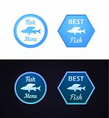 picture of fish  - Stamp with grayling fish Menu Fish and Best Fish - JPG