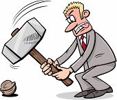 picture of proverb  - Cartoon Humor Concept Illustration of Sledgehammer to Crack a Nut Saying or Proverb - JPG
