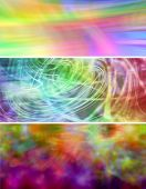 image of floaties  - Three colorful bright vibrant website banner background panels - JPG