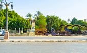 picture of carriage horse  - The carriages with horses are very popular in Luxor Egypt - JPG