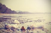 image of environmental pollution  - Garbage on a beach left by tourists environmental pollution concept picture - JPG