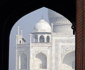 stock photo of mausoleum  - Iconic view of the Taj Mahal mausoleum in Agra - JPG