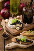 image of home-made bread  - Toasted bread with brie cheese and caramelized onions home made onion  - JPG
