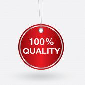 pic of 100 percent  - red oval 100 percent quality tag - JPG
