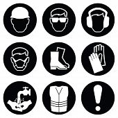 pic of industrial safety  - Monochrome black and white Construction and manufacturing Industry Health and Safety Icon collection isolated on white background - JPG