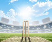 pic of cricket  - A cricket stadium with cricket pitch and set up wickets in the daytime under a blue sky - JPG