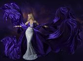 pic of evening gown  - Woman Beauty Dress Flying Purple Silk Cloth Lady Creative Fashion Gown Flowing and Waving on Wind Beautiful Girl Elegant Portrait - JPG