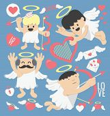 foto of cupid  - illustrations cartoon cupid bow and arrows vector eps10 - JPG