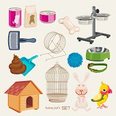 pic of turds  - Set of vector icons for pets shop - JPG